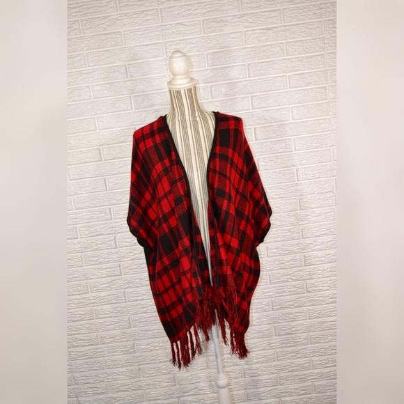 18a1ae03708c2 Faded Glory Sweaters - Faded Glory | Red & Black Plaid Cardigan w/Fringe